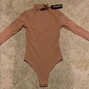 Boohoo pink long sleeve bodysuit